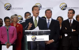 Arnold Schwarzenegger Speaking at High Speed Rail Inauguration