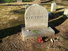 "Nathanial Hawthorne's Grave in ""Authors' Ridge"" in Sleepy Hollow Cemetery, Concord, Massachusetts"