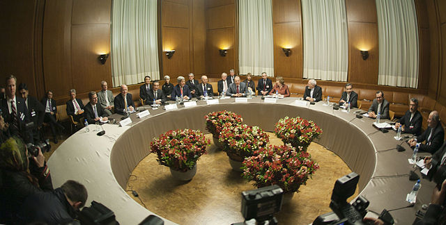 The ministers of foreign affairs of Germany, the United Kingdom, China, the United States, France, Russia, the European Union and Iran meeting in Geneva for the interim agreement on the Iranian nuclear programme (November 2013).