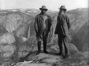 Theodore Roosevelt and John Muir on Glacier Point, Yosemite Valley, California, ca. 1906. Prints and Photographs Division, Library of Congress. Reproduction Number LC-USZ62-107389.